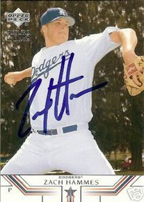 Zach Hammes Signed Los Angeles Dodgers UD Rookie Card