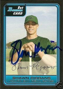 Shawn Riggans Signed Tampa Bay Rays Bowman Rookie Card