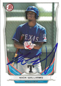 Nick Williams Autographed Texas Rangers 2014 Bowman Card