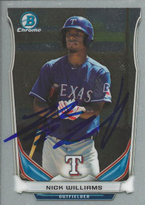 Nick Williams Autographed Texas Rangers 2014 Bowman Chrome Card