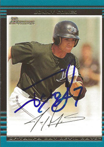 Jonny Gomes Autographed Tampa Bay Rays 2002 Bowman Gold Rookie Card