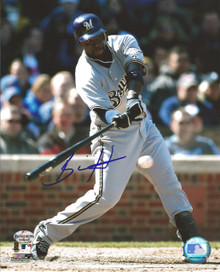 Bill Hall Autographed Milwaukee Brewers Road 8x10 Photo