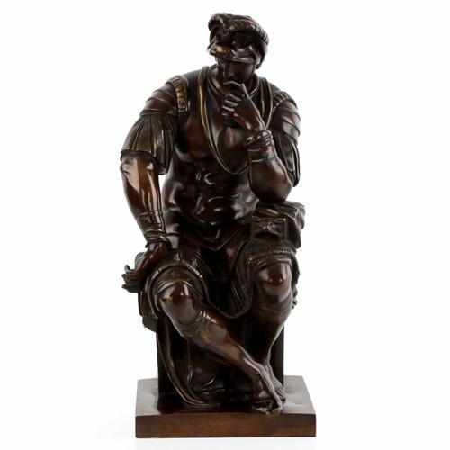 "19th Century Bronze Sculpture ""Lorenzo de Medici"" after Michelangelo"