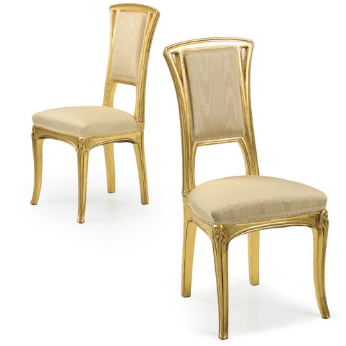 Fine Pair of Art Nouveau Giltwood Side Chairs attr. Louis Majorelle