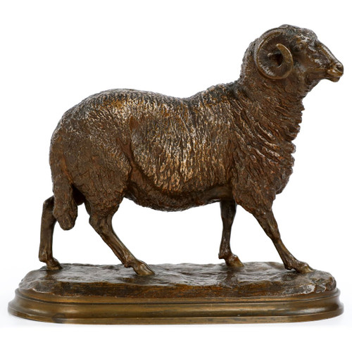 Isidore Bonheur (French, 1827-1901) Bronze Sculpture of a Ram, Peyrol