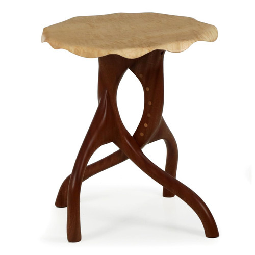 Modern Sculpted Curly Maple and Sapele Side Table