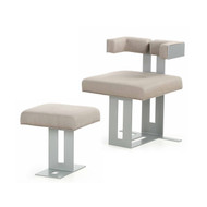 Modern Gray Steel Lounge Chair and Ottoman, 21st Century