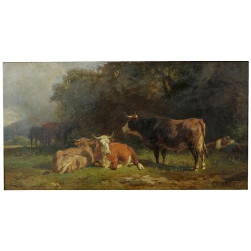 """Friedrich Johann Voltz (German, 1817-1886) """"Cowherd and Cattle Resting"""""""