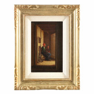 Painting of Dutch Interior Scene with Two Figures in Hallway c. 1864