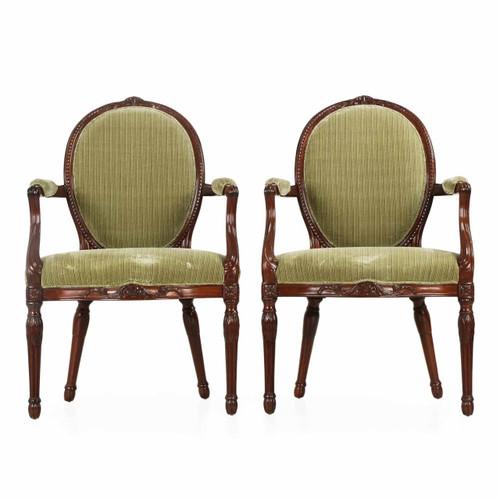 Pair of George III Mahogany Arm Chairs, England, late 18th Century