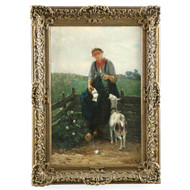 Barbizon Painting of Girl Feeding Goat by David de la Mar (Dutch, 1832-98)