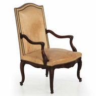 Vintage French Leather Fireside Club Chair, 19th Century