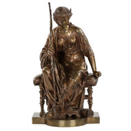 Etienne Henri Dumaige (French, 1830-1888) Bronze Sculpture of Artemis
