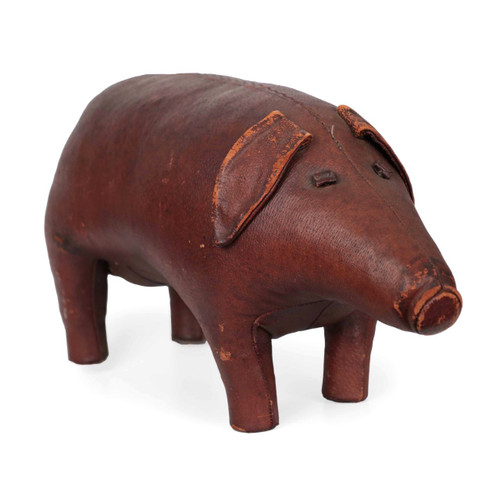 Leather Pig Footrest by Dimitri Omersa for Abercrombie & Fitch c. 1960s