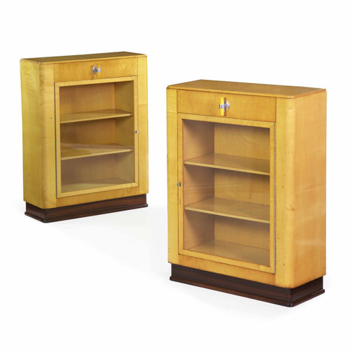 Pair of Art Deco Birch, Rosewood and Steel Bookcase Cabinets c. 1930
