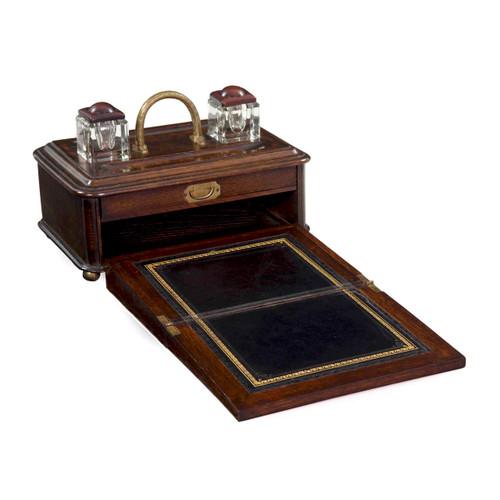 English Victorian Oak Traveling Box w/ Writing Slope, 19th Century