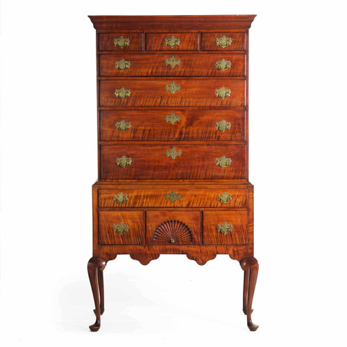 An Exceptional American Queen Anne Curly Maple Highboy c. 1760-80