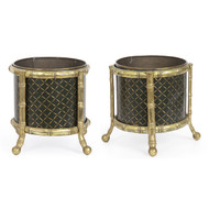 Pair of Regency Tole-Painted Brass Cache Pots, Likely English