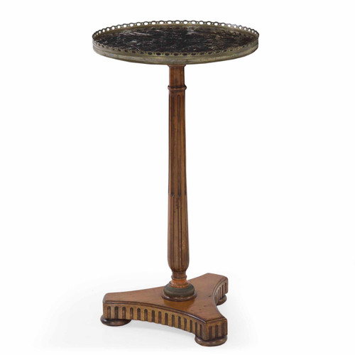 French Provincial Fruitwood and Black Marble Side Table
