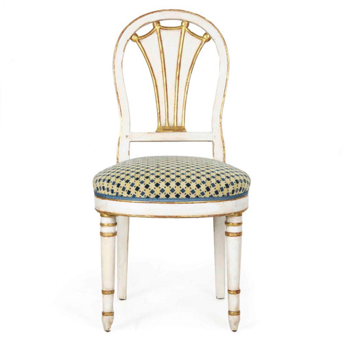 Directoire White and Parcel Gilt Painted Side Chair, 19th Century