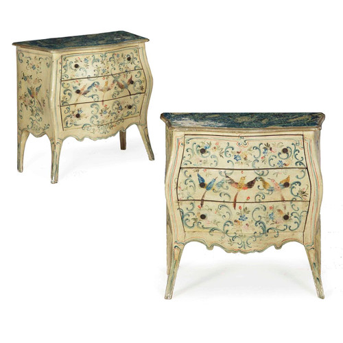 Pair of Venetian Rococo Painted Bedside Commodes