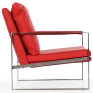 Fine Quality Brushed Steel Cube Lounge Chair, 20th Century