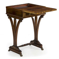 English Regency Rosewood Brass Inlaid Writing Table c. 1815-25