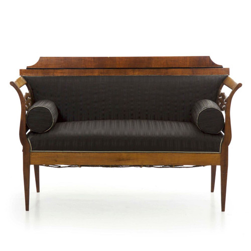 Austrian Biedermeier Ebonized Fruitwood Settee, 19th Century
