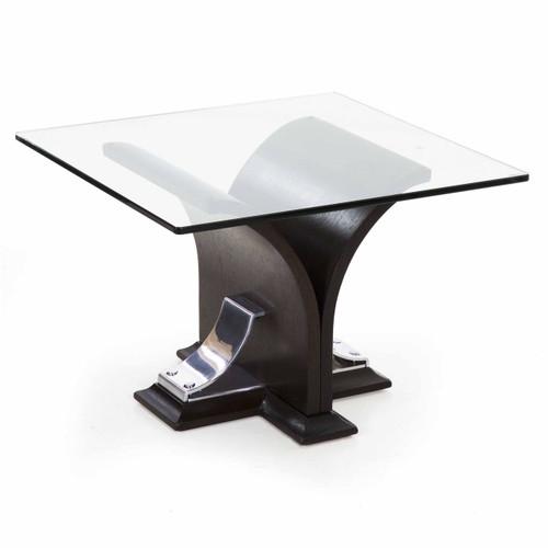 Art Deco Ebonized Walnut and Aluminum Side Table
