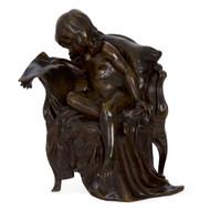 """Girl Reading Newspaper"", bronze | Gertrude Bricard & Thiebaut Freres"