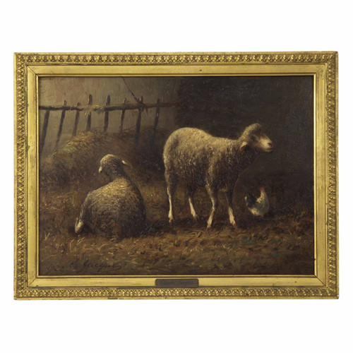 """Sheep in Stable"" in oil on panel 