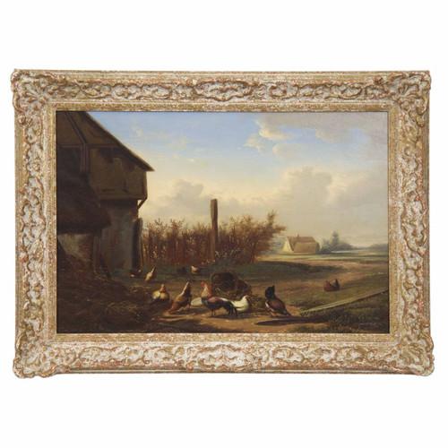 """""""Farmyard Fowl"""", oil on panel c. 1868   Johan Lodewijk Van Leemputten"""