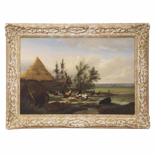 """Countryside Fowl"", oil on panel c. 1868 | Johan Lodewijk Van Leemputten"
