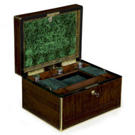 Regency Brass and Rosewood Jewelry Box, Bramah, London c. 1850-70