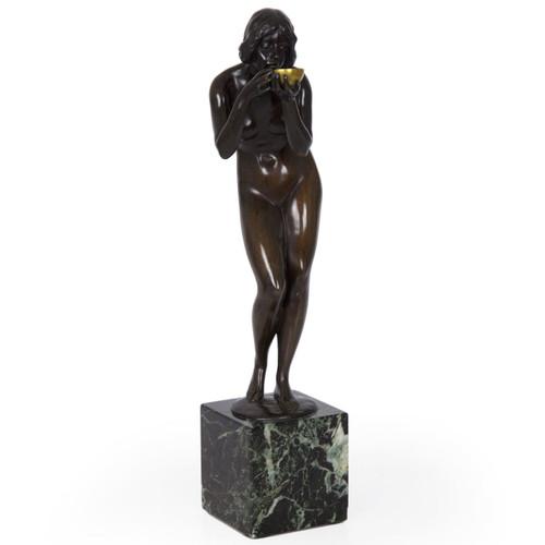 """Antique Bronze Sculpture """"Trinkender Frauenakt"""" by Victor Heinrich Seifert (German, 1870-1953)"""