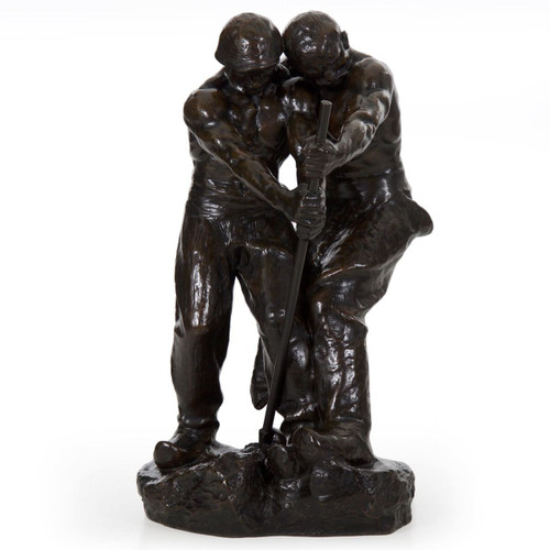 Art Deco Bronze Group of Men Laboring by Henri Levasseur (French, 1853-1934)