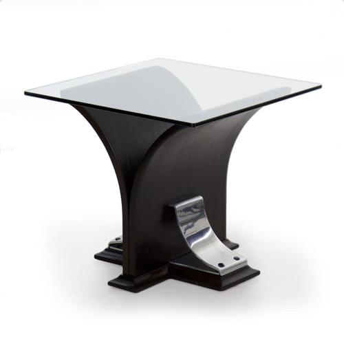 Art Deco Ebonized Walnut, Aluminum and Glass Side Table