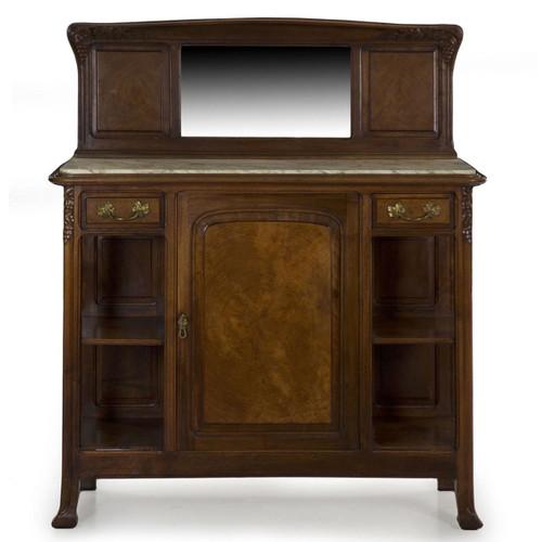 French Art Nouveau Walnut Marble Top Server circa 1900