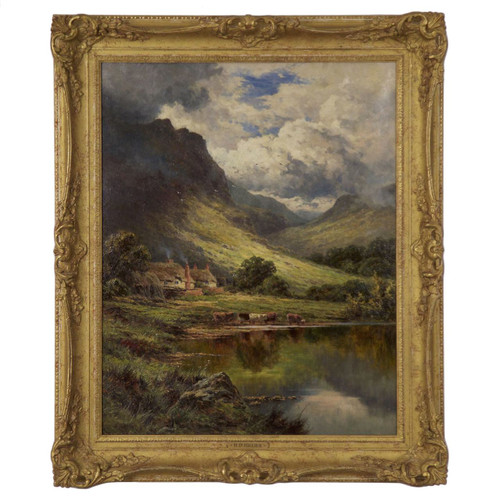 """A Shepherd's Cot in Glen Nevis, Inverness-Shire"", oil on canvas   Henry Deacon Parker"