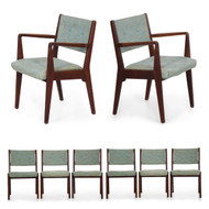 Set of Eight Mid Century Modern Walnut Dining Chairs by Jens Risom
