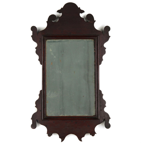 Rare and Small American Chippendale Mahogany Looking Glass Mirror