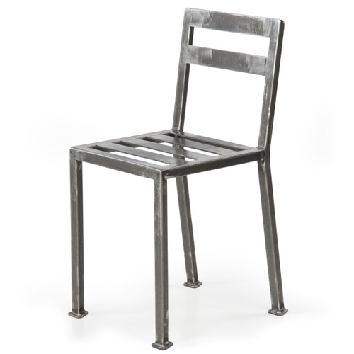 Industrial Style Welded and Tumbled Steel Dining Side Chair, 21st Century