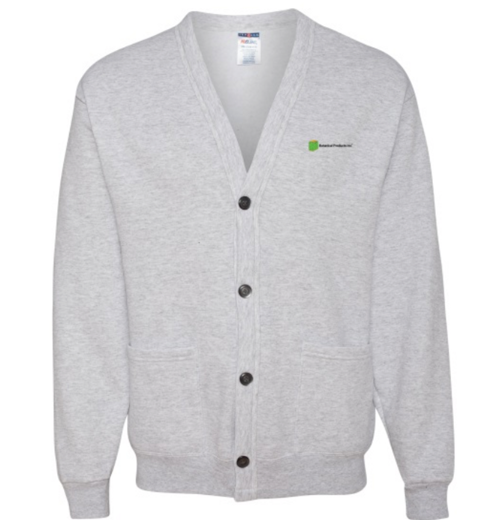 JERZEES® 50/50 NuBlend® Cardigan Sweatshirt   50/50 polycotton material Seamless body with set-in sleeves Four smoke-tone buttons with decorative stitching Two front pockets with reinforced openings Two front pockets with reinforced openings   ONLY COMES IS SMALL AND MED