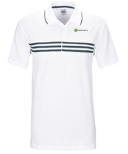 Embroidery Adidas® Golf Puremotion Three Stripe Chest Polo  95/5 polyester/Lycra® with hydrophilic finish Anti-roll rib-knit collar with contrast tipping Three-button placket 3-stripes plain weave taping across chest Open hem sleeves Contrast adidas® logo on back neck Debossed dots print pattern on fabric