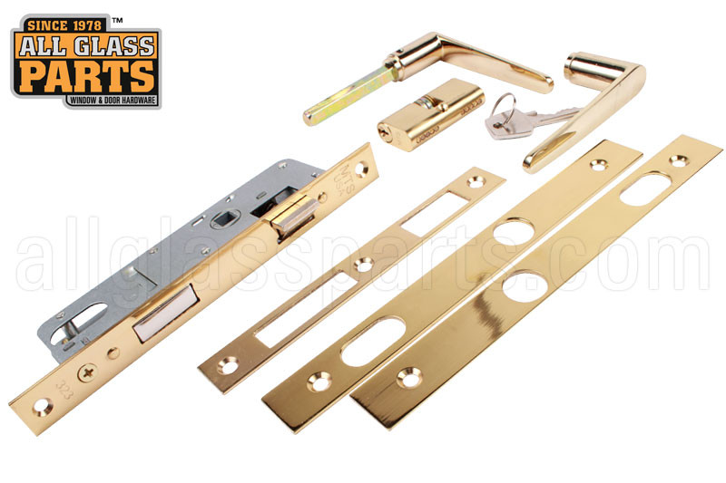 Storm Door Handle Set Lock Assembly Mortise Style Brass