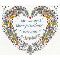 Wedding Heart Cross Stitch Kit by Bothy threads
