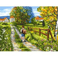 The Way to School Tapestry Canvas By Royal Paris