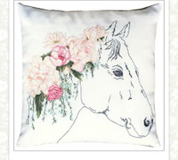 Floral Horse Pillow Cross Stitch Kit by Luca-S