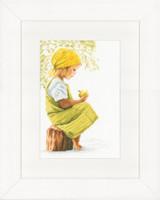 Girl With Apple Cross Stitch Kit by Lanarte
