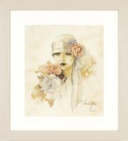 Lady With pink Flower Cross Stitch Kit by Lanarte